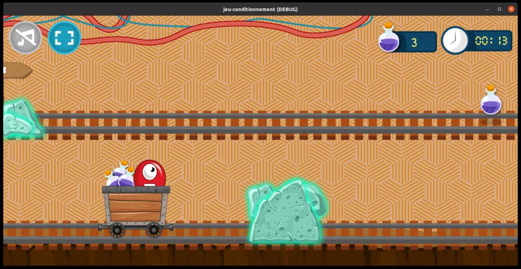 image présentant un extrait du jeu. On y voit le wagon qui avance sur la voie du bas
